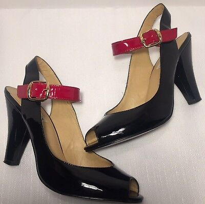 - Steve Madden 'Tinah' Black and Red Patent Leather Peep Toe Pump Size 8.5