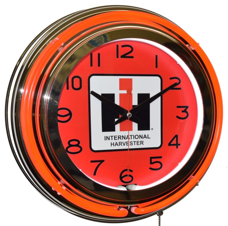 "IH International Harvester Case Farmall 15"" Red Double Neon Clock Garage Decor"