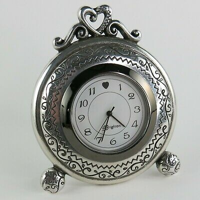 Brighton Desk Mantel Clock Silver Tone -