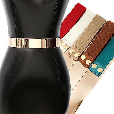 Womens Belts Gold Metal Plate Buckle Wide Elastic Stretch High Waist Strap Belt