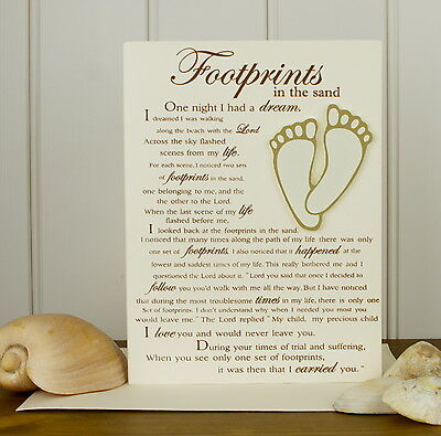 Footprints in the Sand Card- Hand-finished Card - Footprints Religious Gifts