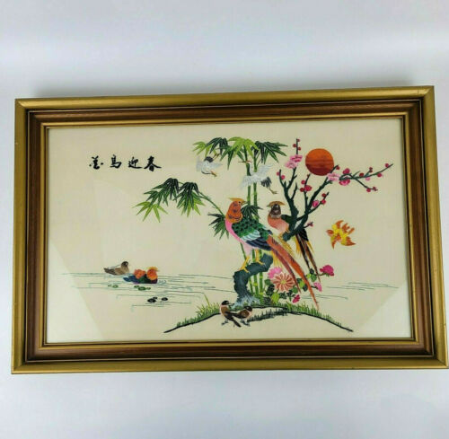VTG Chinese/Japanese Silk Embroidered Birds Flowers Large Framed Picture 22 x 14
