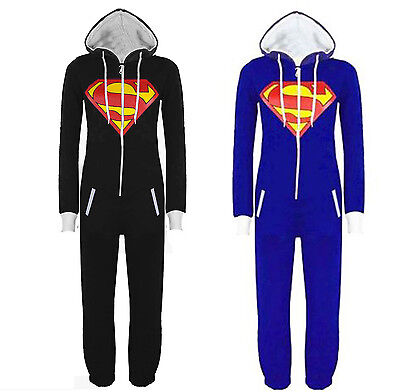 Unisex Mens And Women Ladies Superman Print 1Onesie  Jump suit Hooded  - Superman Onesie Women