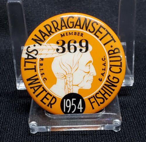 1954 NARRAGANSETT SALT WATER FISHING CLUB Member Badge Pinback License Button