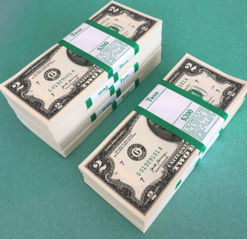 100 Two Dollar Bills NEW $2 Money 2017 A Chicago G BEP Bundle Strap One Pack
