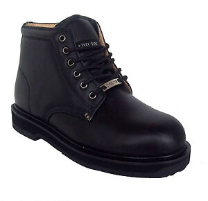 vegace 9008 mens black leather non slip steel toe work boots