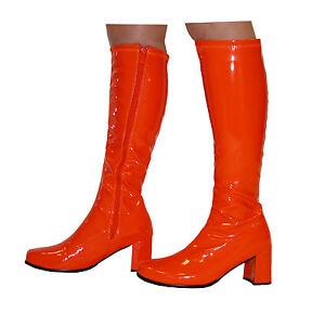 orange knee high boots 60s 70s style gogo boots size
