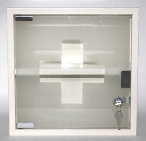 Locking Medicine Wall Cabinet Cream Enamelled Metal Glass ...