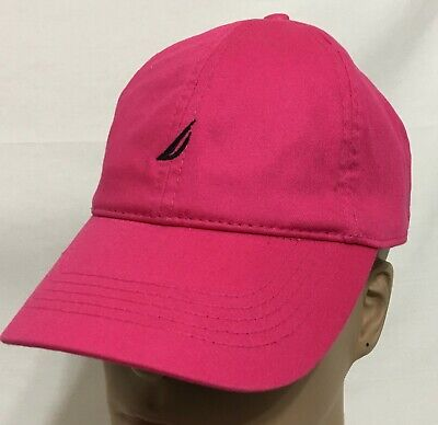Nautica Women's Baseball Cap Adjustable Strap Back  Pink with Navy Log  (7843)