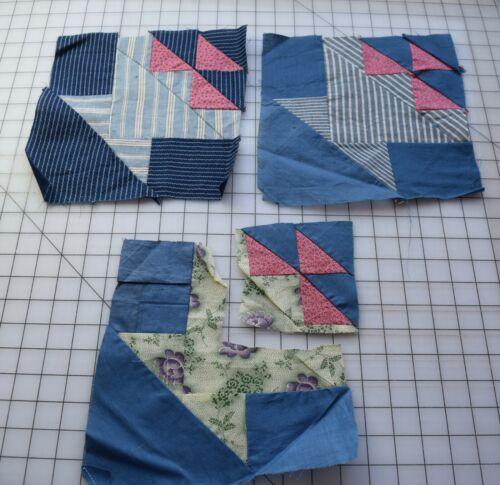 9351 2 1/2 Antique 1880-1920s Basket quilt block, thread dyes, blue