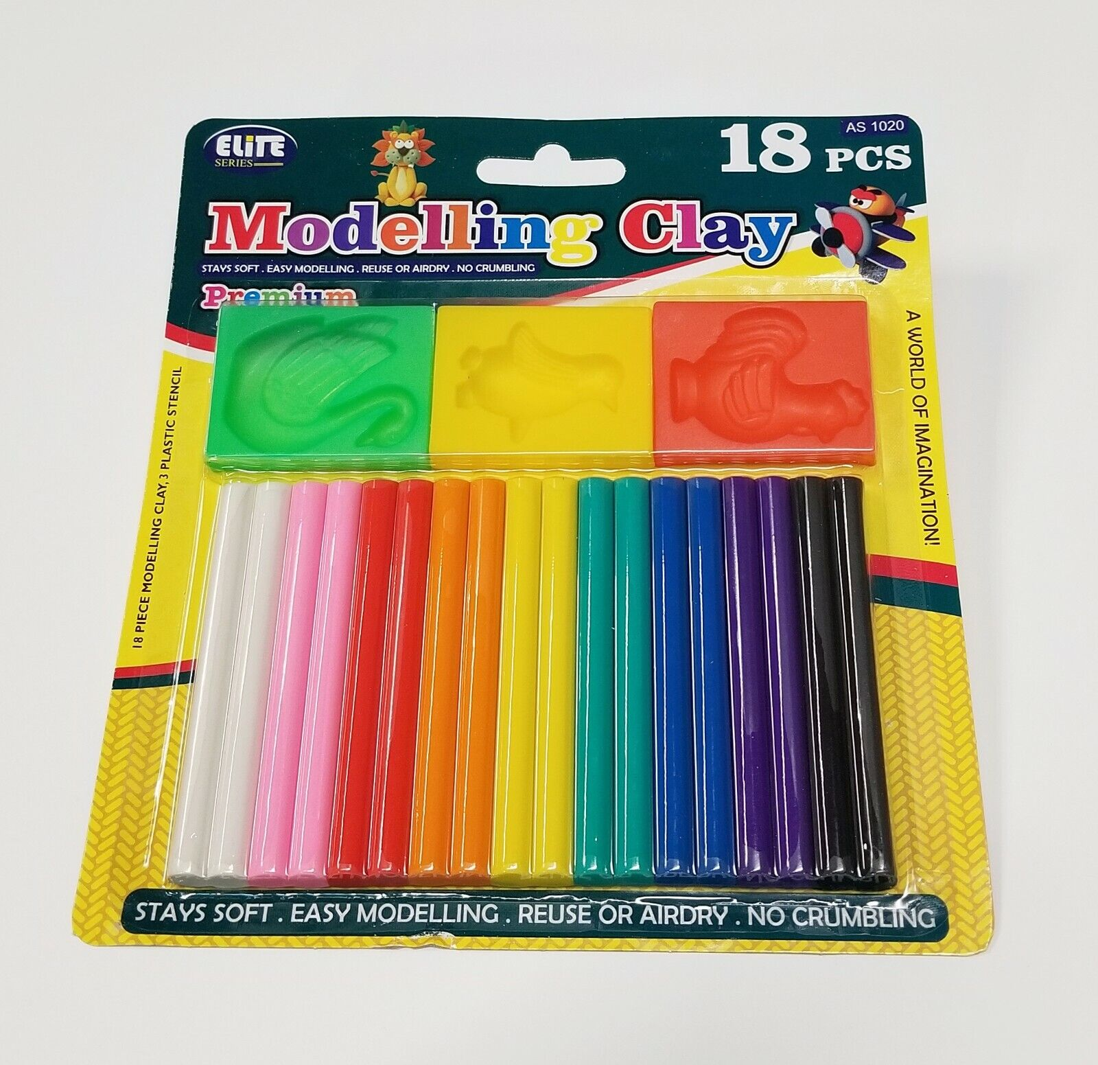 """Modeling Clay Set for Kids - 18 Multi Color 3"""" Sticks Mold A"""