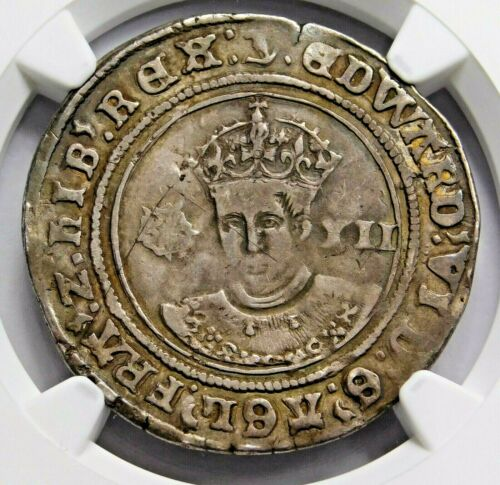 NGC VF. TUDOR Edward VI Superb Shilling. Son of Henry VIII. England Silver Coin