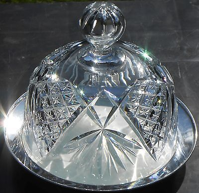 ANTIQUE CRYSTAL CUT GLASS & SILVER PLATED CHEESE DISH DOME - GRINSELL BIRMINGHAM