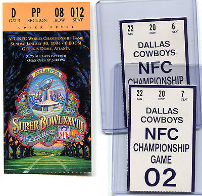 Super Bowl Ticket Stub XXVIII Dallas Cowboys Buffalo Bills 2 NFC Champ Gm SF Lot