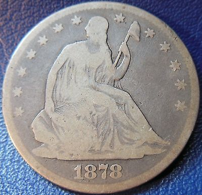 1878 SEATED LIBERTY HALF DOLLAR GOOD VG  50C US TYPE COIN T706