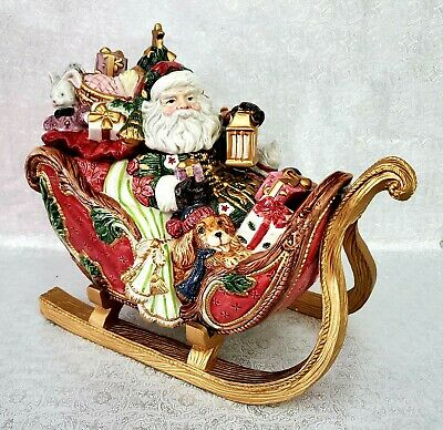 Rare & Vtg Fitz & Floyd 19/1023 Father Christmas Sleigh Cookie Jar in Orig. Box