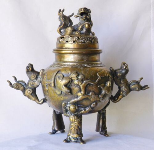 Antique LARGE 19thC Chinese Gilt Bronze Tripod Censer 5.56lbs Incense Qing