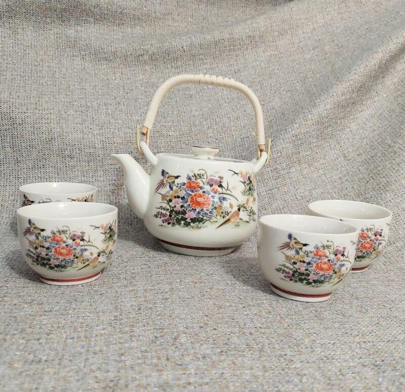 Vintage Japanese Tea Set Floral & Birds Vinyl Wrap Handle Teapot 4 Cups White