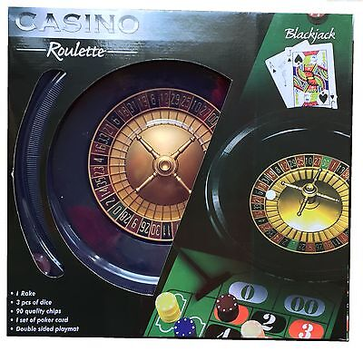 BOXED ROULETTE SET - 40cm WHEEL, FULL SIZE CHIPS, RAKE, BALL, CARDS, BLACKJACK