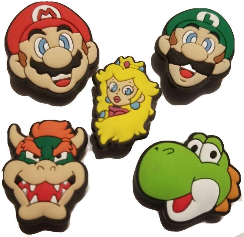 Super Mario Shoe Charm 5pc Set! NEW!  For Crocs, Clogs, Crafts & More!