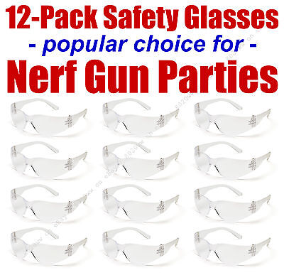 12pak Safety Glasses for Nerf Gun Kids Party - Clear Lens w/Clear Frames INTCLR