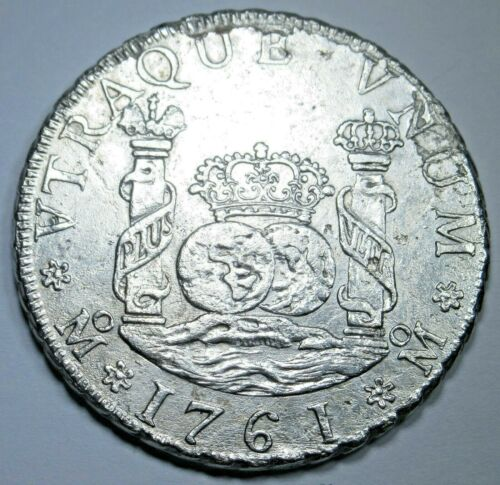 1761 Spanish Mexico Silver 4 Reales XF-AU Details Antique Colonial Pirate Coin