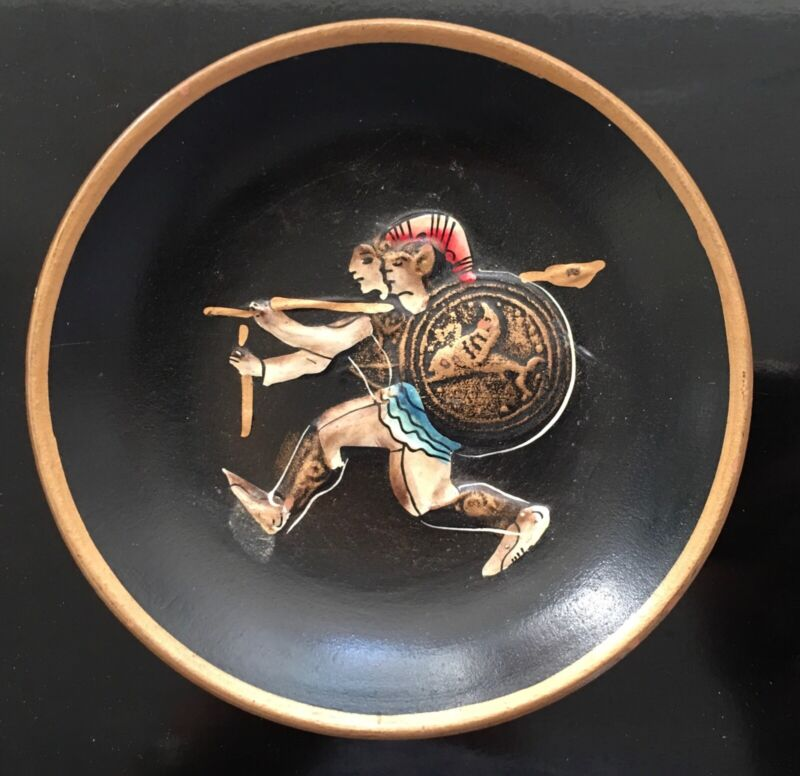 Vintage Ancient Greek Warrior Pin Soap Dish Bowl Hand Painted Wall Hanging Plate