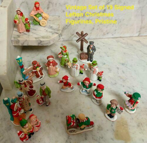 Lot of 19 Signed Lefton Christmas Village Figurines