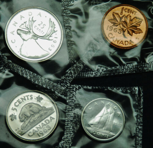 1963 prooflike Canadian coins in original mint cello: 1¢, 5¢, 10¢ and 25¢