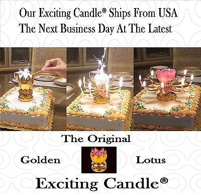 2 Golden Lotus Flower Amazing Happy Birthday EXCITING CANDLES