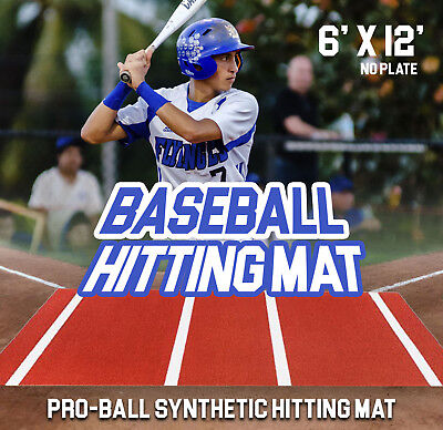 Pro-Ball Baseball Hitting Mat, Clay, Inlaid Lines with No Home Plate - 6' X 12' ()