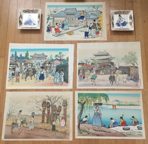 JAPAN,WOODBLOCK PRINTS(5) AND PAINTED CERAMIC PLATE(2) BY HIYOSHI MAMORU (1885-)