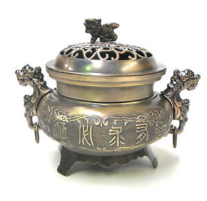 Charcoal Burner Incense Holder Ornament Chinese Dragon Design Metal with Lid