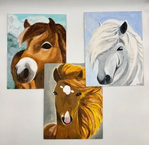 "Set of 3 Horse Head Artwork Oil Paintings on Board Artist Signed 11"" X 14"""