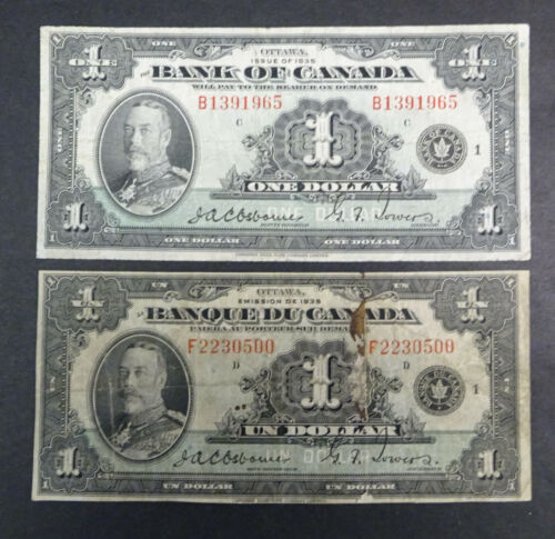 1935  Two  $1 Bank of Canada Banknote, English & French versions