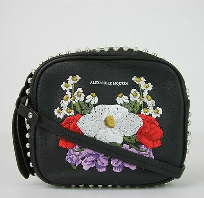 $990 Alexander McQueen Black Studded Leather Floral Mini Camera Bag 479999 1095
