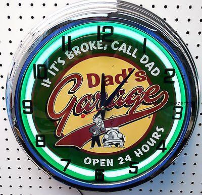 "17"" DADS GARAGE Sign Neon Clock If It's Broke Call Dad Open 24 Hours"