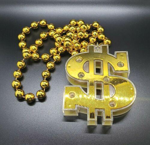 Money LED Light Dollar Sign Symbol Flashing Blinking Halloween Costume Necklace