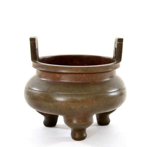 19th Century Chinese Bronze Ears Scholar Censer Incense Burner 1349 Gram