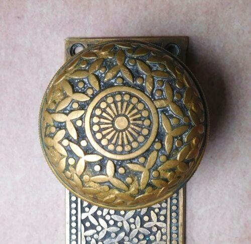 Antique brass bronze Yale & Towne Rice vintage Door Knob & Back Plate