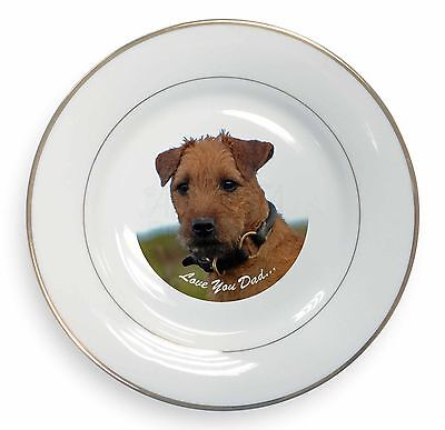 Lakeland Terrier 'Love You Dad' Gold Rim Plate in Gift Box Christmas P, DAD-73PL