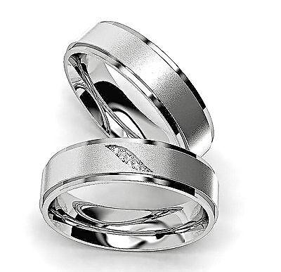 2 Edelstahl Verlobungsringe Partnerringe Eheringe Freundschaftsringe Silber A33