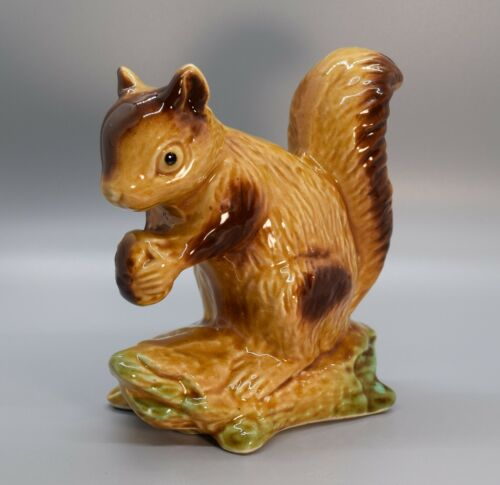 """Vintage Ceramic Squirrel With Acorn Figurine Brown Fall Decor 5"""" Tall"""