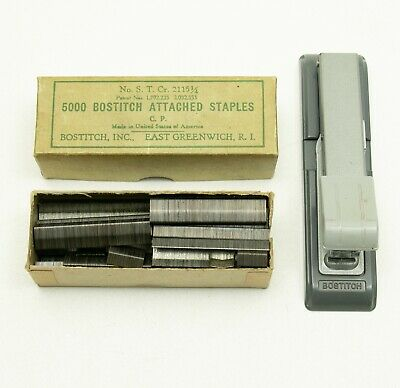 Vintage Bostitch B8 Stapler Gray With Box Of Vintage Staples