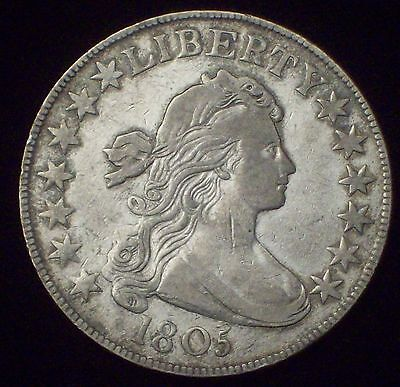 1805 DRAPED BUST HALF DOLLAR SILVER O-113A VARIETY  R-4 AUTHENTIC COIN
