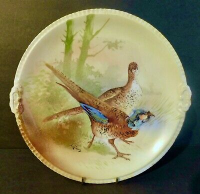 Limoges B/&H Pheasant Hand Painted Charger Christmas Limoges Wall Plate Game Bird