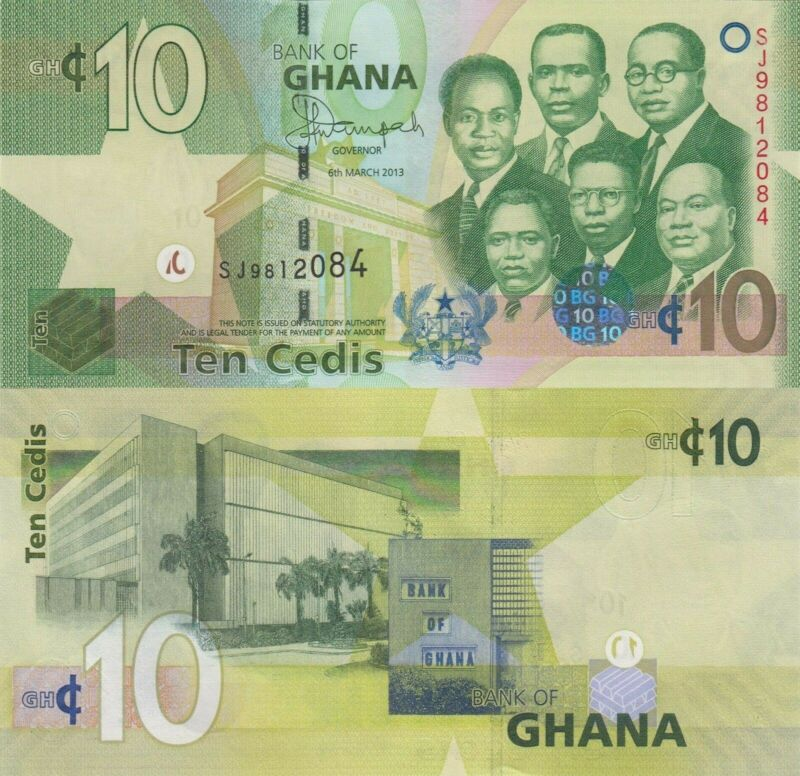 Ghana 10 Cedis (06.3.2013) - Big Six/Bank of Ghana/p39d UNC