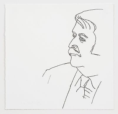 Alex Katz: Seated Man,1980. Signed, Numbered, Black and White, Fine Art Print.