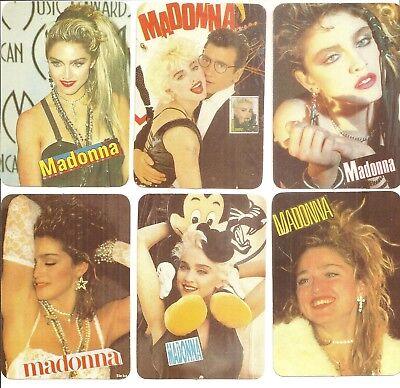 "(6) Different 1991 Madonna Joemare' 2 3/4"" x 4"" Portuguese Pocket Calendar Cards"