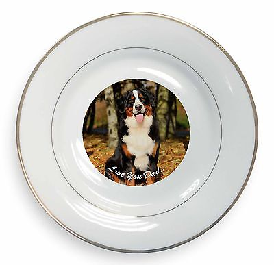 Bernese Mountain Dog 'Love You Dad' Gold Rim Plate in Gift Box Christma, DAD-9PL